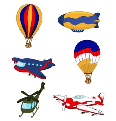 Air transportation set cartoon vector