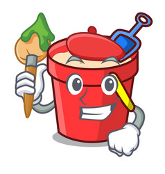 Artist sand bucket character cartoon vector