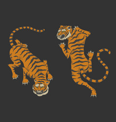asian tigers in vintage japanese style for logo vector image
