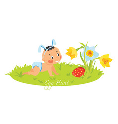 baby boy in bunny ears hunting for eggs vector image