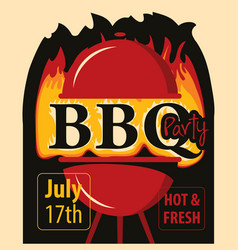 banner bbq party with barbecues and fire vector image