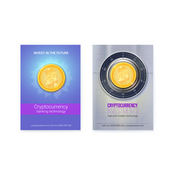 Bitcoin investment set posters with golden vector