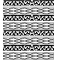 black and white ethnic pattern of triangles vector image
