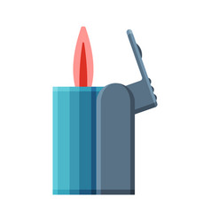 Blue cigarette lighter with fire flammable vector