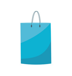 blue plastic shopping bag with handle in flat vector image
