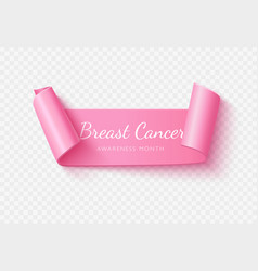 breast cancer month white lettering on vector image