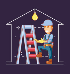 Builder character with home repair icons vector