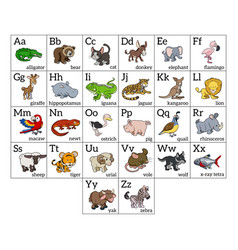 Cartoon animal alphabet chart vector