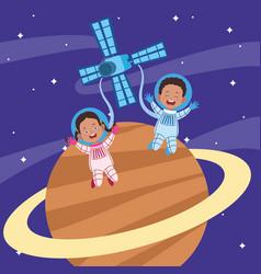 Cartoon astronauts kids in a planet vector