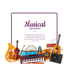 cartoon musical instruments frame music vector image