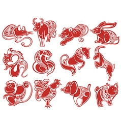 Chinese papercut Zodiac icons vector image
