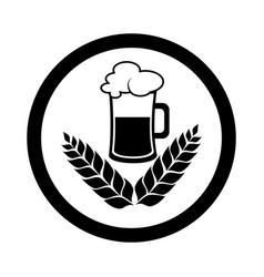 Circular emblem with monochrome beer glass vector