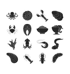 collection of dark seafood icons vector image