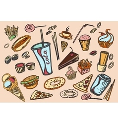Colored Doodle Fast Food vector image