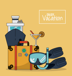 colorful background of enjoy vacation with luggage vector image