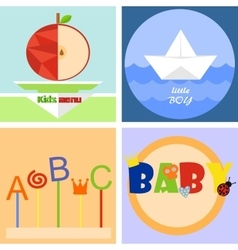 Colorful fun childrenlogo or emblem vector