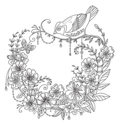 coloring flowers and birds 5 vector image