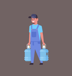 Courier man in uniform holding two plastic bottles vector
