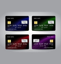 credit cards set with black abstract design vector image