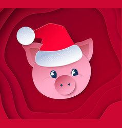cute funny new year pig vector image