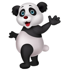 Cute panda cartoon waving hand vector image vector image