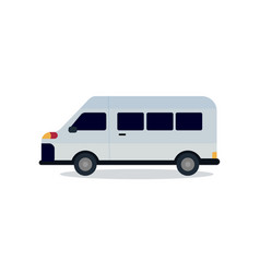 Cute van design with isolated white mini bus flat vector