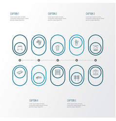 decor icons line style set with kitchen scales vector image