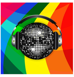 Disco ball and headphones over rainbow background vector