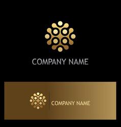 Dot connect round gold company logo vector