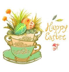 Easter card with watercolor flowers and eggs vector