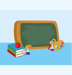 Education blackboard with erlenmeyer flask and vector