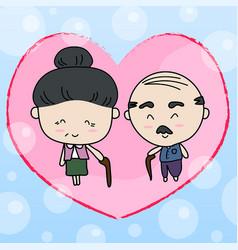 elderly couple of lover vector image