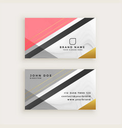 Elegant business card with marble texture template vector