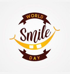 emblem design world smile day in flat style vector image