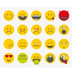 Emoticons emoji smiley flat set vector image