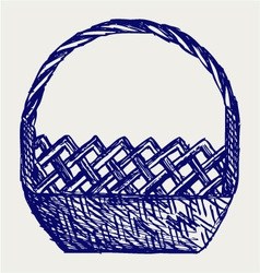 Empty wicker basket vector image