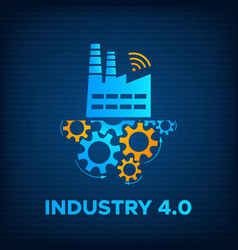 Factory icon gears mechanism industry 40 concept vector