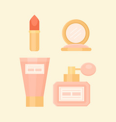 flat makeup set with perfume lipstick cream vector image
