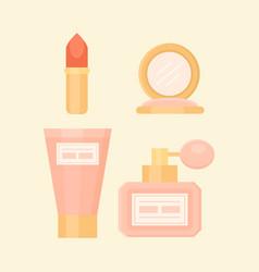 flat makeup set with perfume lipstick cream vector image