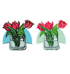 Flowers bouquet of tulips vector
