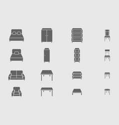 furniture icons set 05 vector image