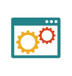 gears inside browser window vector image