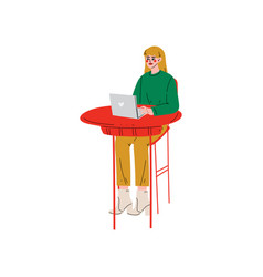 girl sitting at desk and working on laptop vector image