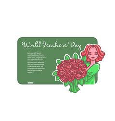 girl teacher with flowers at a board for a chalk vector image