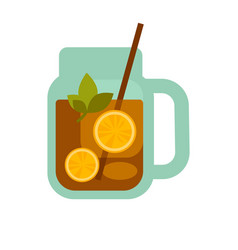 glass mug of tea with lemons herbs straw in cup vector image