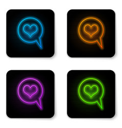 glowing neon heart in speech bubble icon isolated vector image