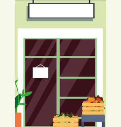 Grocery market facade fruit and vegetables vector