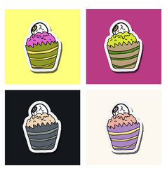 halloween cupcake on background happy halloween vector image