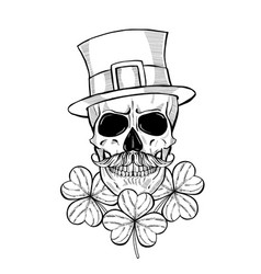 Hand drawn angry skull of leprechaun vector