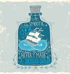 Hand drawn vintage label with a ship in a bottle vector image